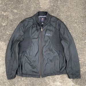 Vintage Mens Phat Farm Black Leather Jacket XL